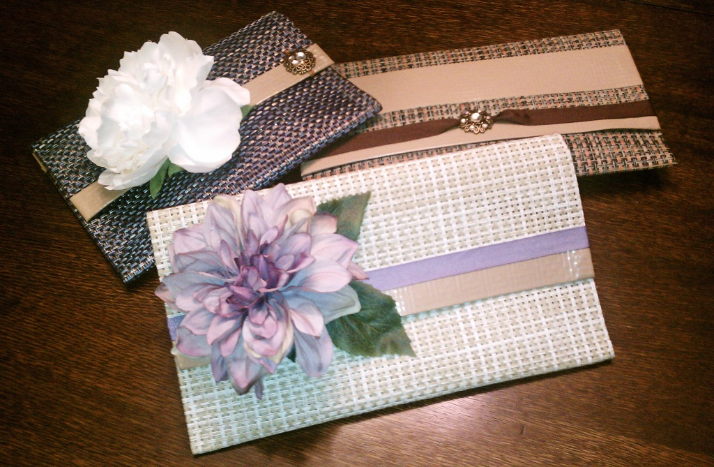 Placemat and duct tape clutches